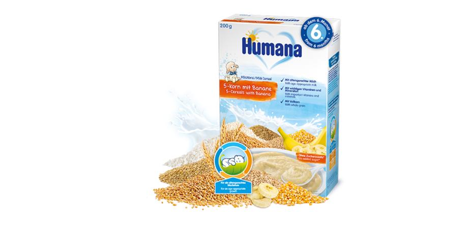 Cereale Humana 5 Cereale si banane, 200g, cu lapte, 6 luni+