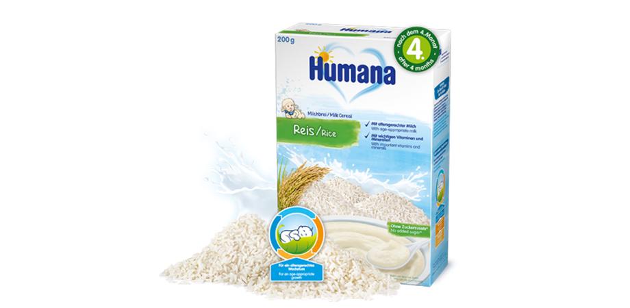 Cereale Humana Orez cu lapte, 200g, 4luni+