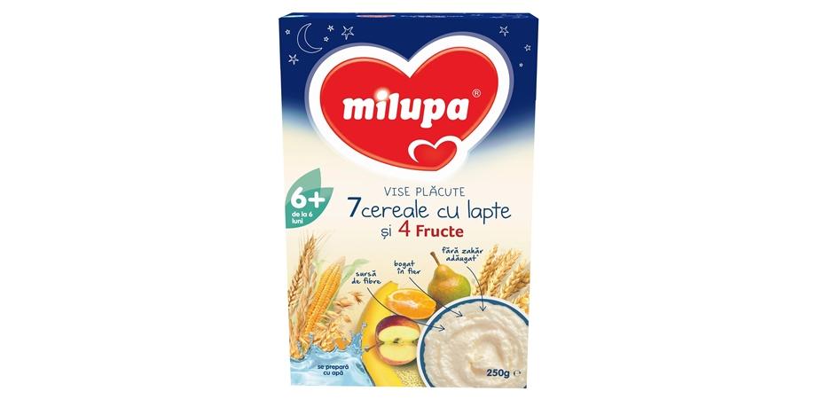 Cereale Milupa Buna Vise Placute 7 Cereale cu lapte si 4 fructe, 250 g, 6 luni+