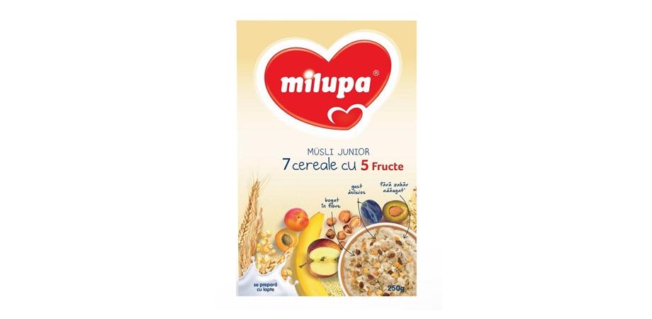 Cereale Milupa Cereale Musli Jr 7 cereale cu 5 fructe, 250 g, 1 an+