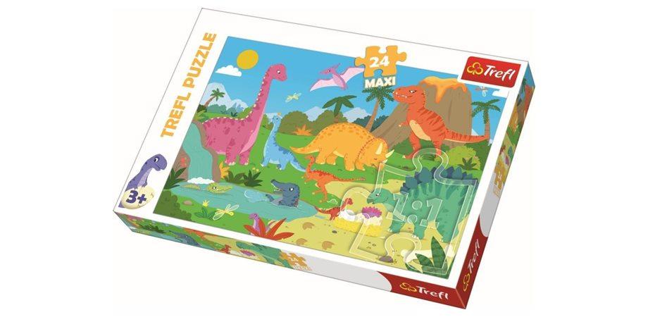 Puzzle maxi In lumea dinozaurilor Trefl, 24 piese