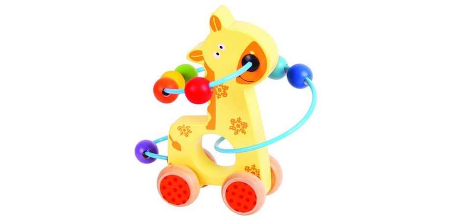Jucarie dexteritate cu bile Girafa BigJigs, din lemn