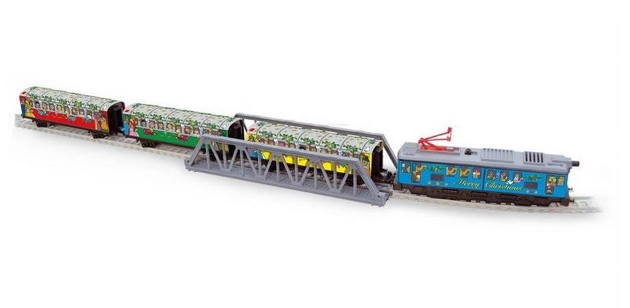 Trenulet electric Christmas Pequetren, cu lumina, pod si tunel